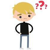 Concerned boy wearing black turtleneck