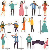 Concert and music groups. Vocal duets. Musician and singers performances