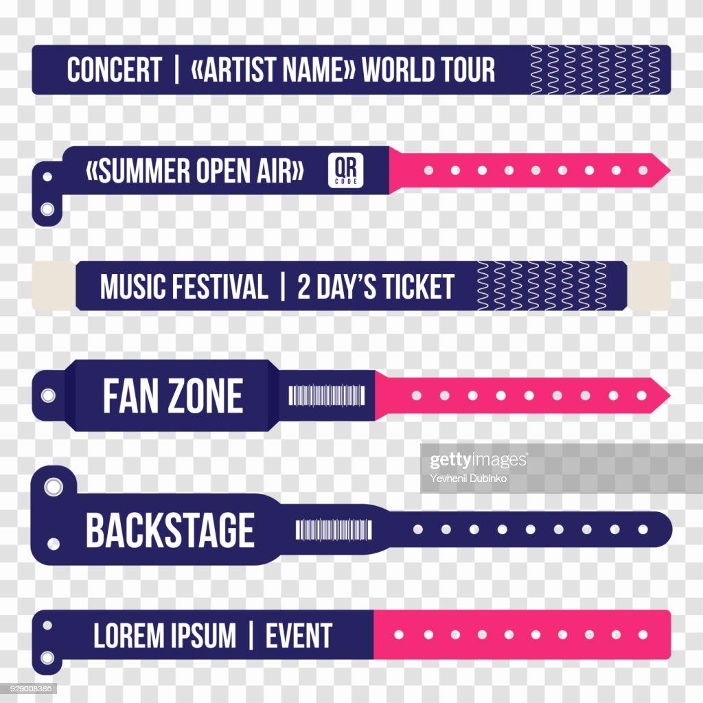 Concert bracelets for entrance to the event. Set of wristbands for entrance to the festival, concert