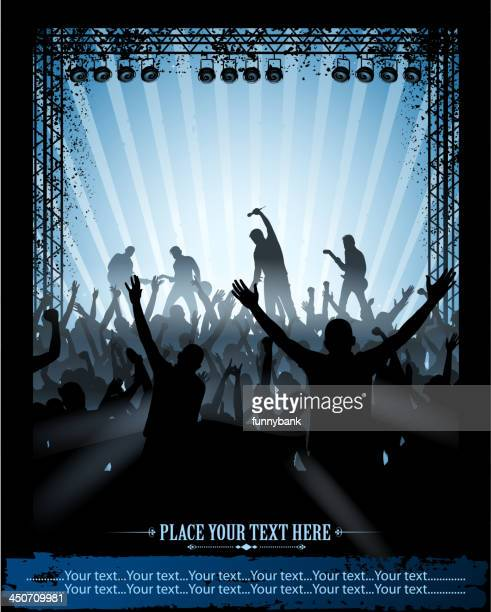 concert placard - stage light stock illustrations