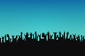 Concert crowd, people silhouettes. Hands with different gestures and smartphones in raised hands. Concert event