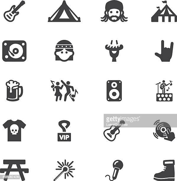 concert festival event silhouette 20 icons | eps10 - tent stock illustrations, clip art, cartoons, & icons