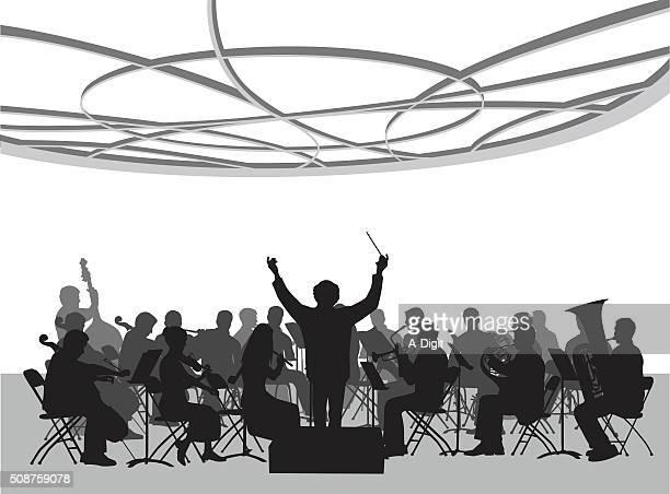 ilustraciones, imágenes clip art, dibujos animados e iconos de stock de concierto sala orquesta ilustración - director de orquesta
