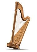 Concert harp. National Irish string musical instrument