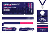 Concert ticket, bracelets, lanyards, identification card for access control to event. Festival wristband, web banners for event advertising
