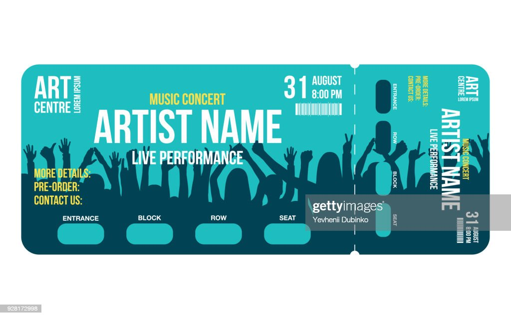 Concert ticket template. Concert, party or festival ticket design template with people crowd on background