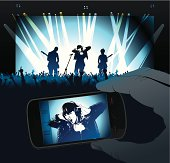Concert with Rock Singer projected in smartphone screen