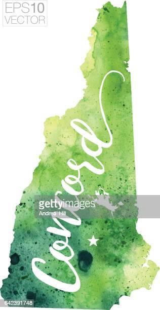 Concord, New Hampshire USA Vector Watercolor Map