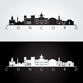 Concord, USA skyline and landmarks silhouette, black and white design, vector illustration.