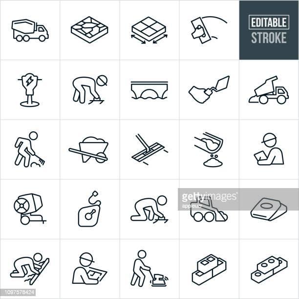 bildbanksillustrationer, clip art samt tecknat material och ikoner med betong och cement linje ikoner - redigerbar stroke - sten konstruktionsmaterial