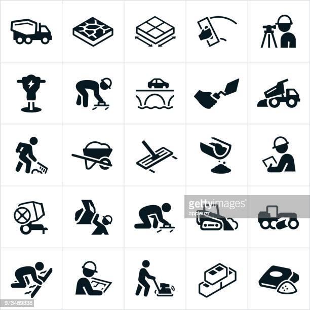 illustrazioni stock, clip art, cartoni animati e icone di tendenza di icone concrete - calcestruzzo