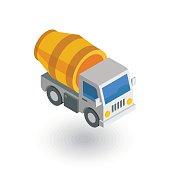 Concrete mixing truck isometric flat icon. 3d vector