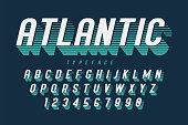 Condensed retro display font design, alphabet, character set