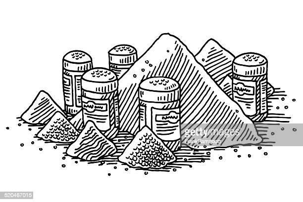 Condiment Heap Salt And Pepper Shaker Drawing