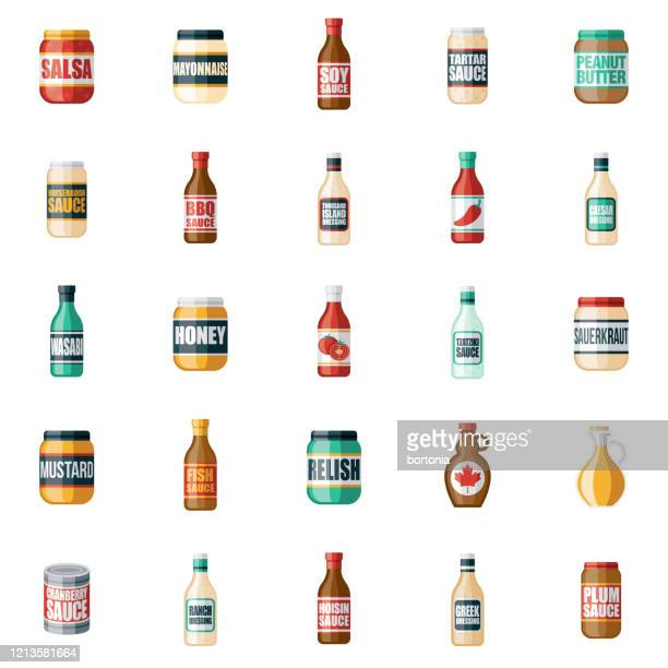 condiments and sauces icon set - jar stock illustrations