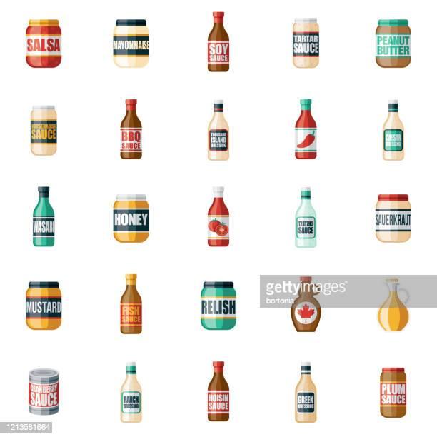 調味料とソースアイコンセット - 食材点のイラスト素材/クリップアート素材/マンガ素材/アイコン素材