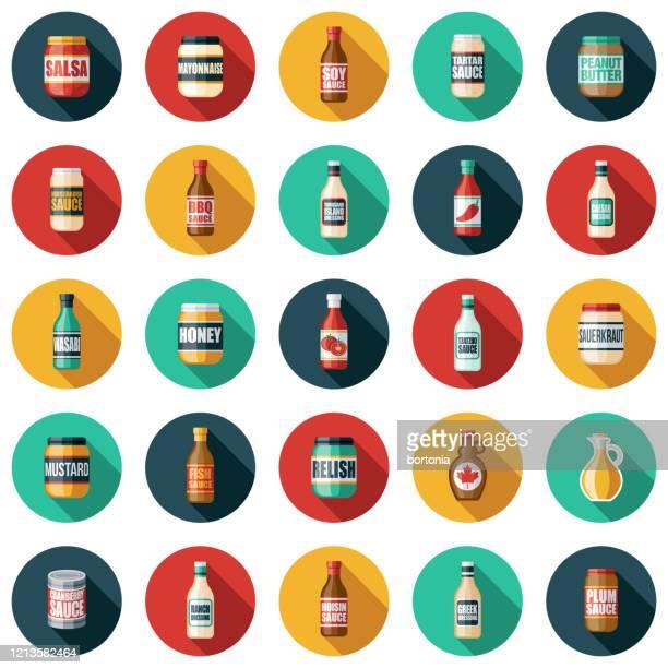 illustrations, cliparts, dessins animés et icônes de ensemble d'icônes de condiments et sauces - sauce