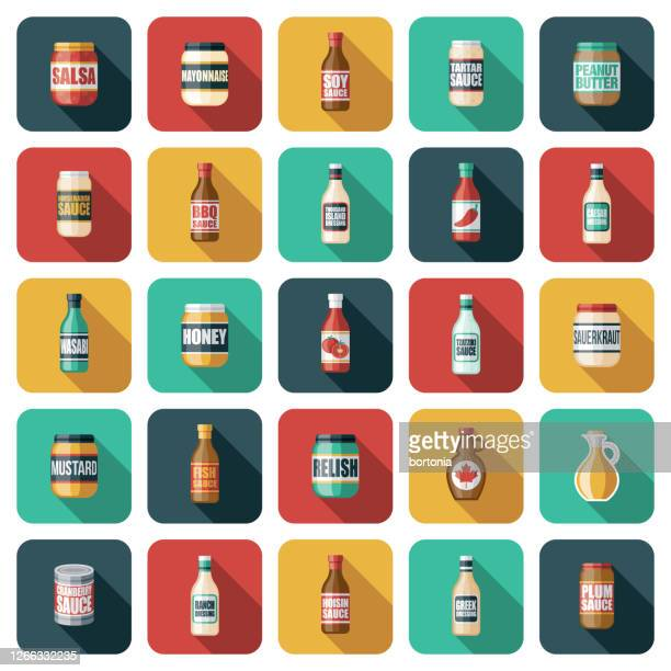 condiments icon set - maple syrup stock illustrations