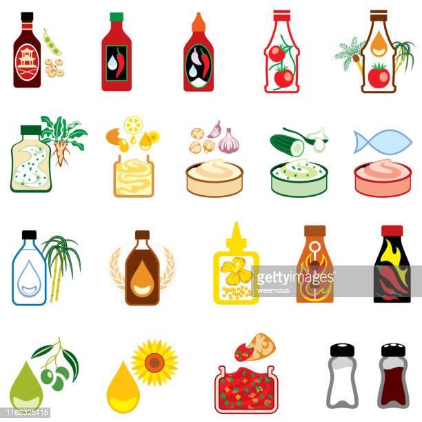 調味料アイコン、ソース、ディップ、ドレッシング、調味料。 - 醤油点のイラスト素材/クリップアート素材/マンガ素材/アイコン素材