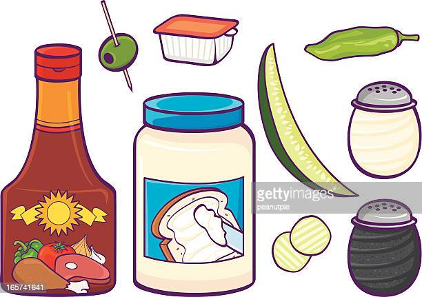 condiments - jar stock illustrations