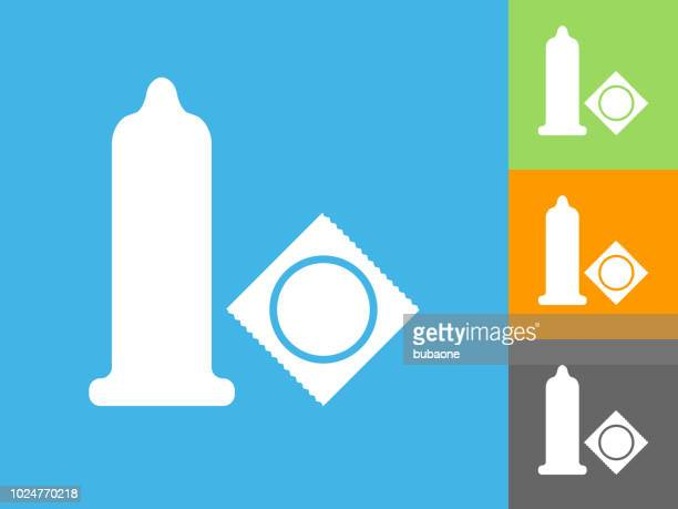 condom  flat icon on blue background - condoms stock illustrations