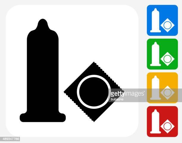 condom icon flat graphic design - condom stock illustrations