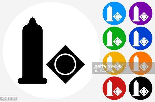 Condom Icon on Flat Color Circle Buttons