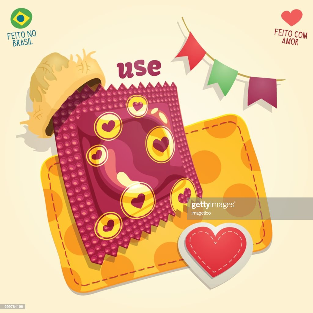 Condom package wearing a straw hat in a brazilian June Party thematic composition.