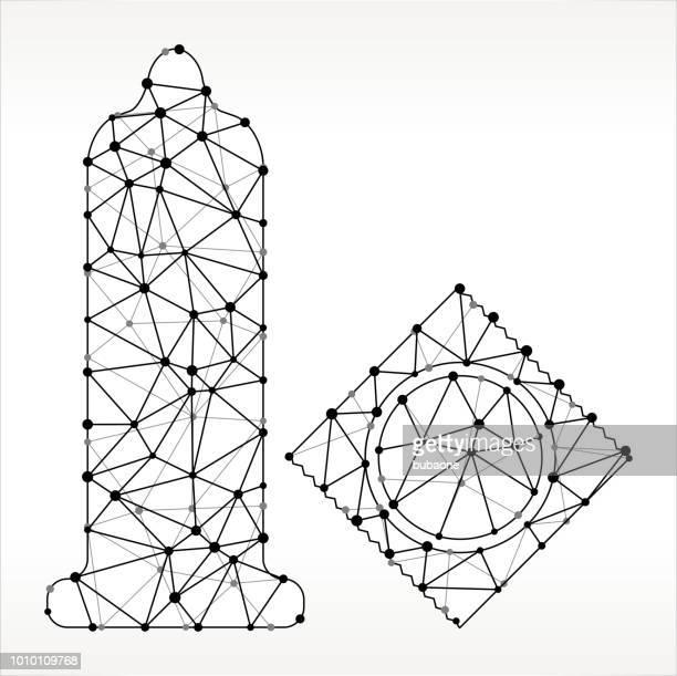 condom  triangle node black and white pattern - condom stock illustrations