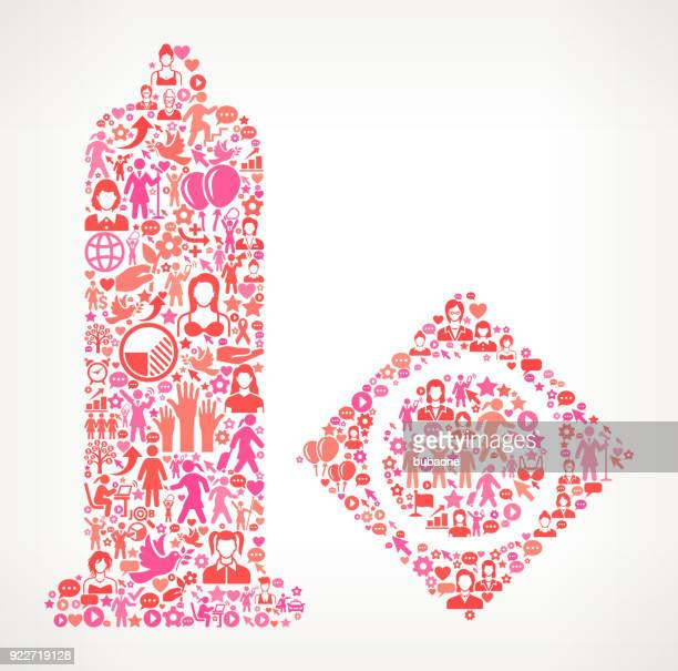 Condom  Women's Rights and female empowerment Icon Pattern