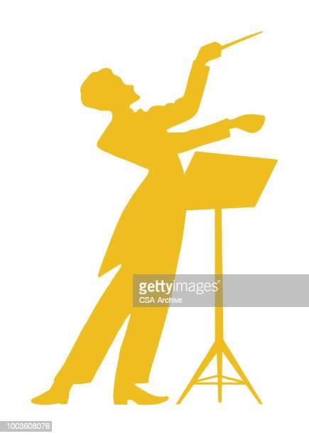 ilustraciones, imágenes clip art, dibujos animados e iconos de stock de conductor en stand - director de orquesta