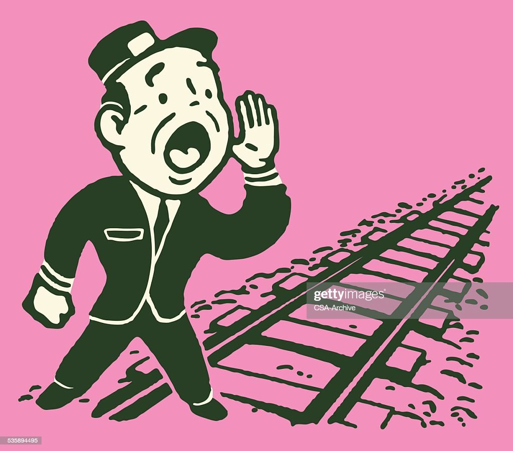Conductor Calling out by Empty Train Tracks : Vector Art