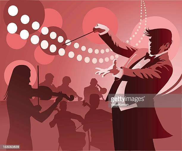 conductor conducting - musician stock illustrations, clip art, cartoons, & icons
