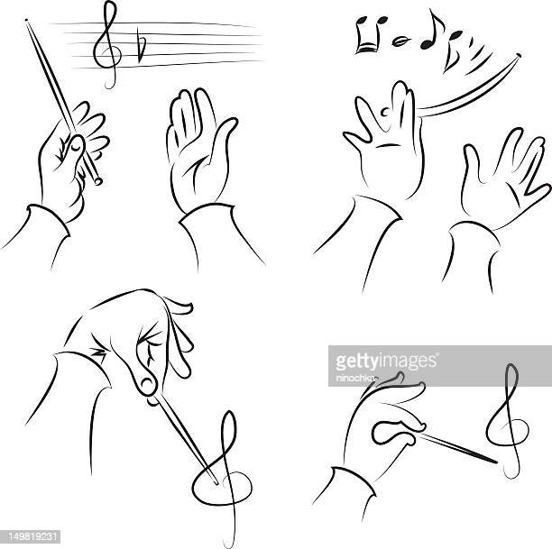 ilustraciones, imágenes clip art, dibujos animados e iconos de stock de juego de conductor - director de orquesta