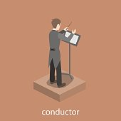 Conductor solo male accompaniment flat 3d web isometric infographic concept vector