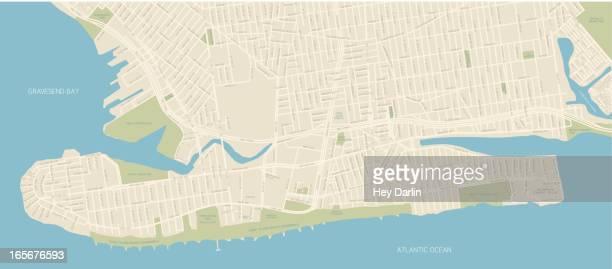 coney island map - brooklyn new york stock illustrations, clip art, cartoons, & icons