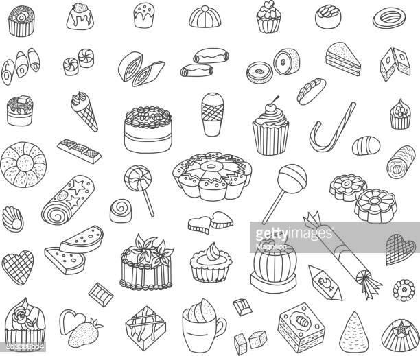 ilustrações, clipart, desenhos animados e ícones de confeitaria rabiscos - sobremesa