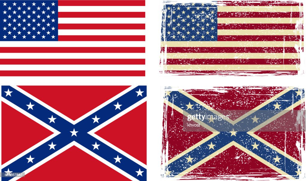 Confederate and American flags.