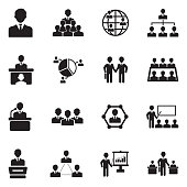 Conference, Business And Management Icons. Black Flat Design. Vector Illustration.
