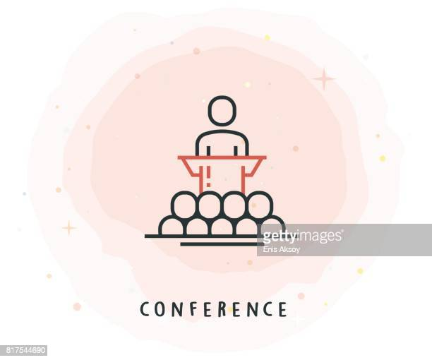 conference icon with watercolor patch - press conference stock illustrations, clip art, cartoons, & icons