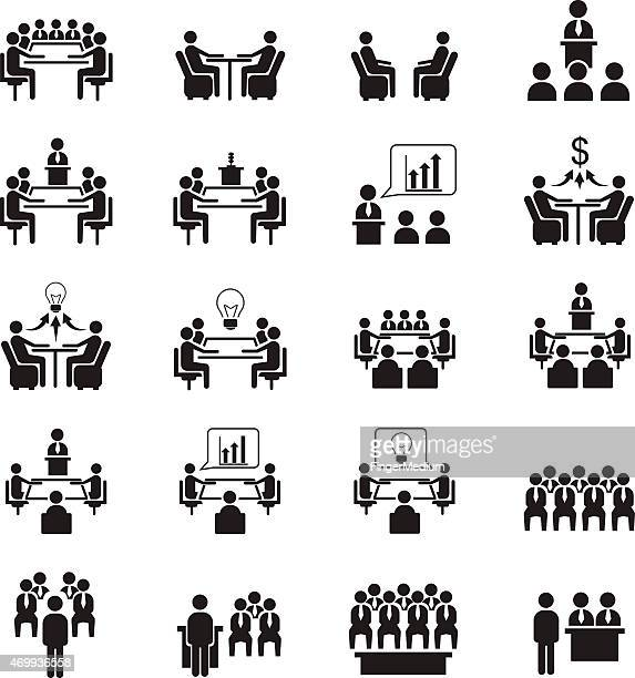 conference icons - conference table stock illustrations, clip art, cartoons, & icons