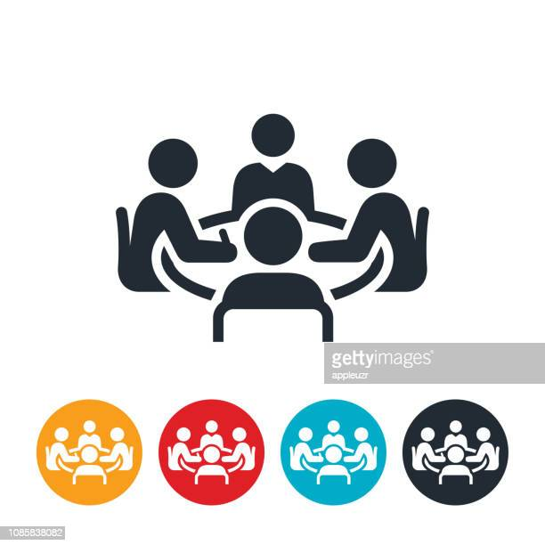 conference room meeting icon - discussion stock illustrations