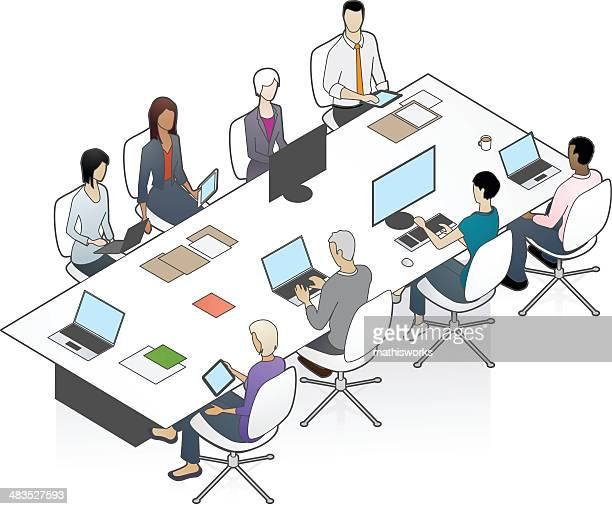 conference table illustration - mathisworks business stock illustrations
