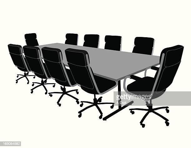 conference table vector silhouette - conference table stock illustrations, clip art, cartoons, & icons