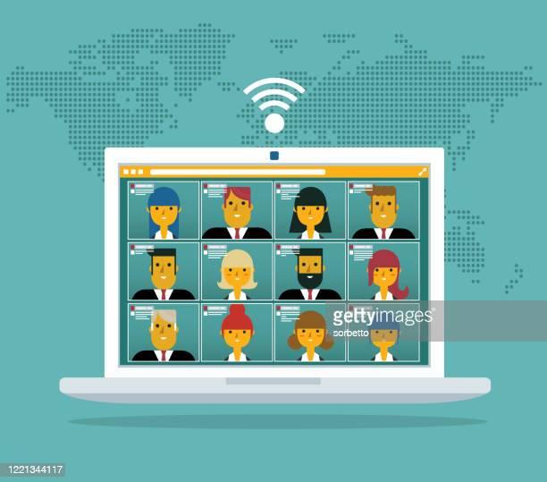 illustrations, cliparts, dessins animés et icônes de appel vidéo de conférence - réunion