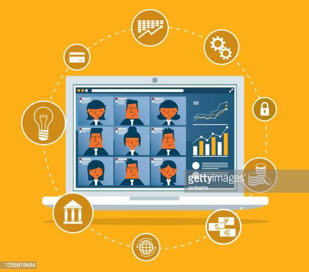 konferenzvideoanruf - konferenz stock-grafiken, -clipart, -cartoons und -symbole