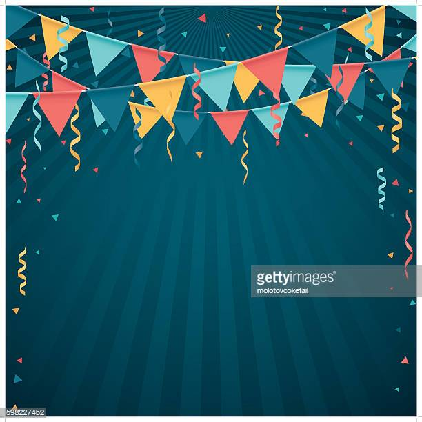 confetti and flag line - celebration stock-grafiken, -clipart, -cartoons und -symbole