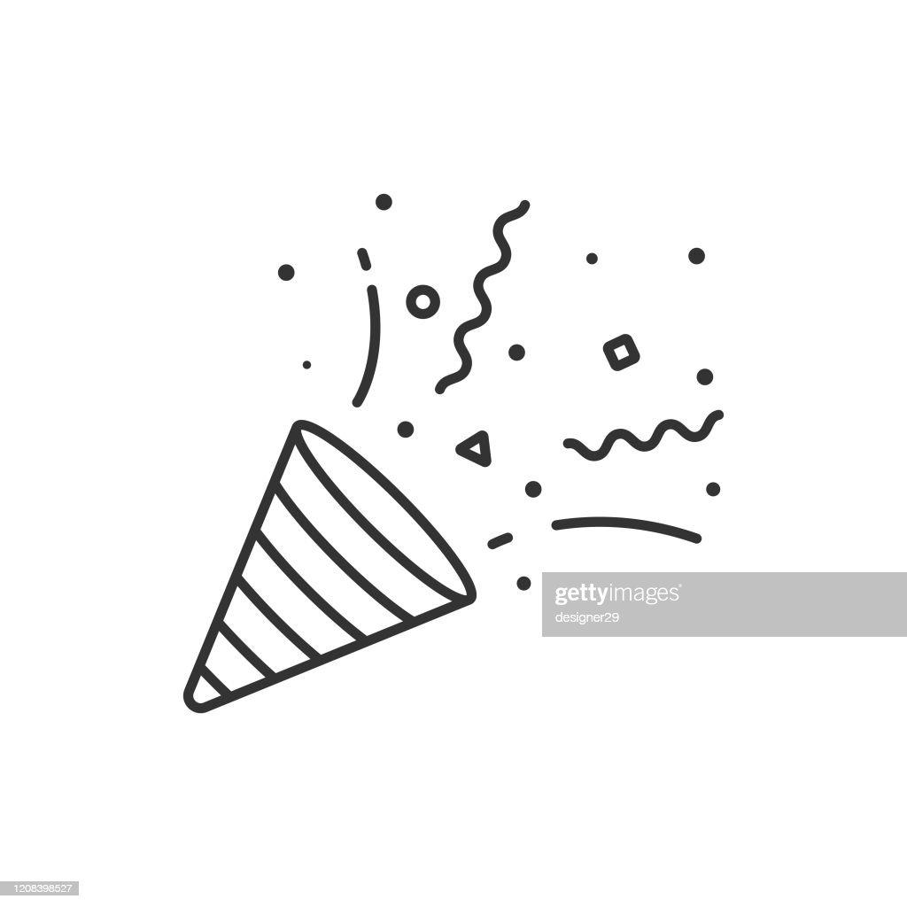 白い背景に紙吹雪とパーティーポッパーアイコン輪ベクトルデザイン。 : ストックイラストレーション