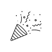 Confetti and Party Popper Icon Outline Vector Design on White Background.