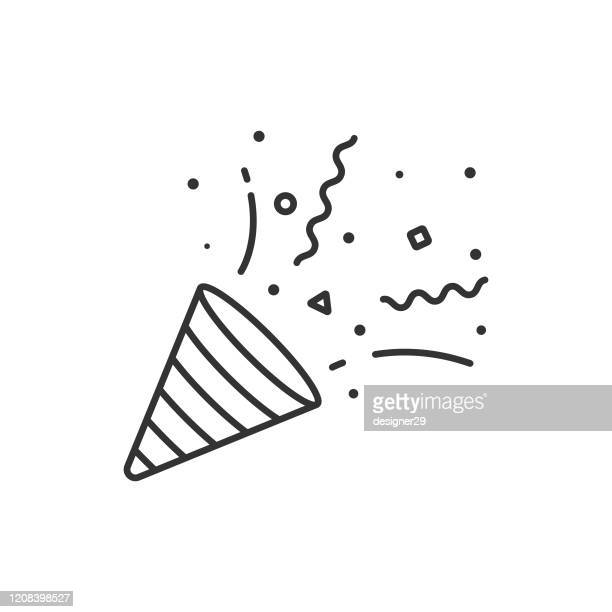 illustrazioni stock, clip art, cartoni animati e icone di tendenza di confetti and party popper icon outline vector design on white background. - festeggiamento